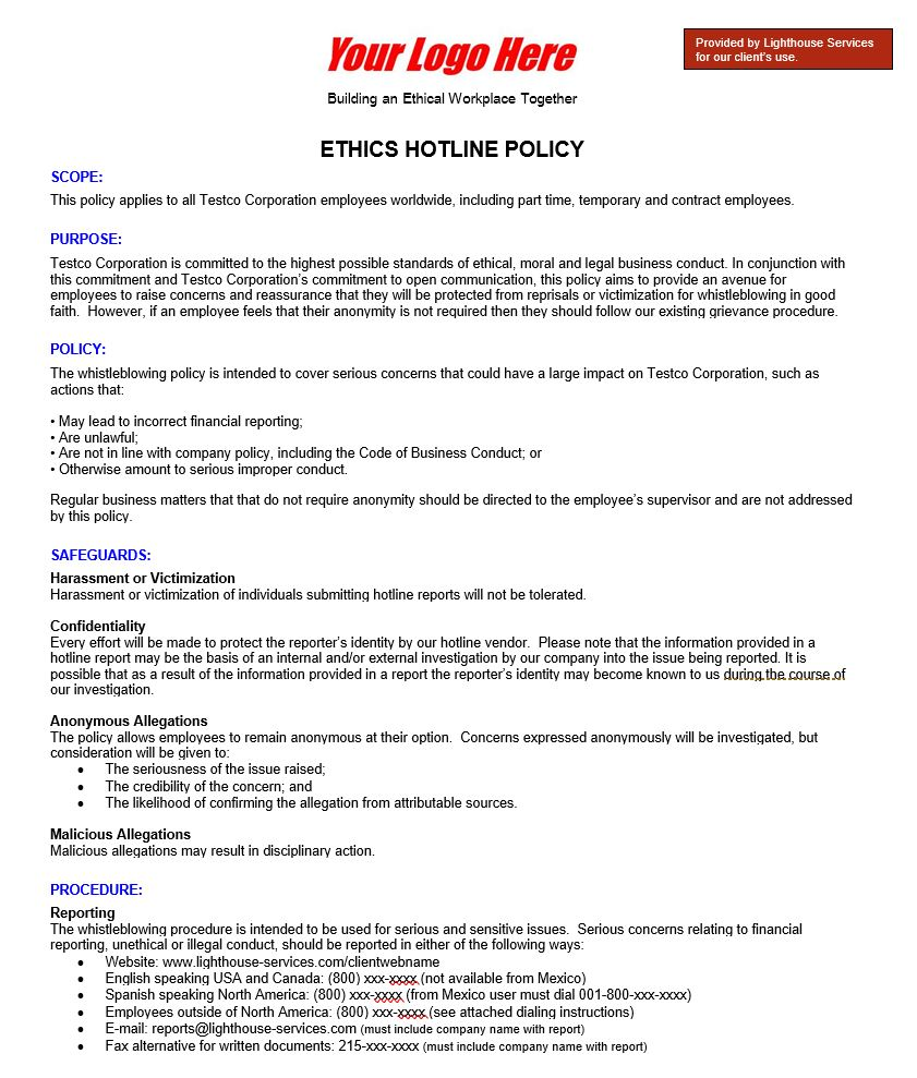 Ethics Hotline Policy Template