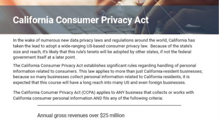 Brochure: California Consumer Privacy Act